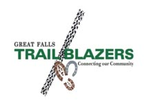 Great Falls Trail Blazers logo.  Connecting our community.